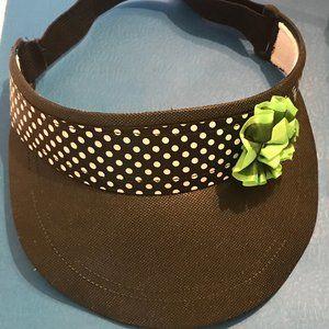 VTG Black Visor w/ White Polka Dots + Green Flower